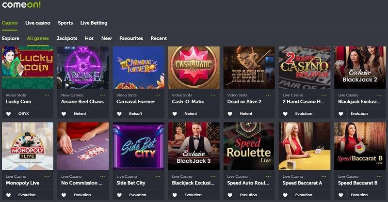 ComeOn India Casino Games